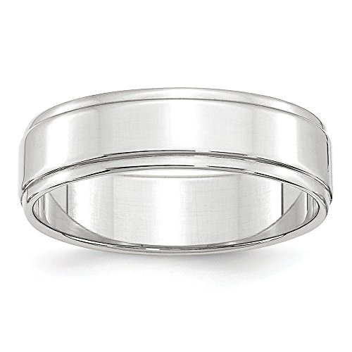 Jewel Tie 10k White Gold 6mm Flat with Step Edge Wedding Band Size ()