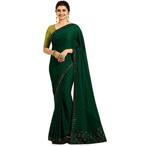 Fab zone Designer Partywear Green Rangoli Silk Printed Saree