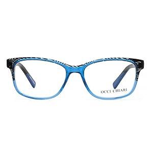OCCI CHIARI Eyeglasses Frames Non-Prescription Fashion Clear Lens Eye Glasses Designer for Womens(Black Stripe/Blue, 53)