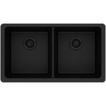 Elkay Quartz Classic ELGU3322BK0 Black Equal Double Bowl Undermount Sink