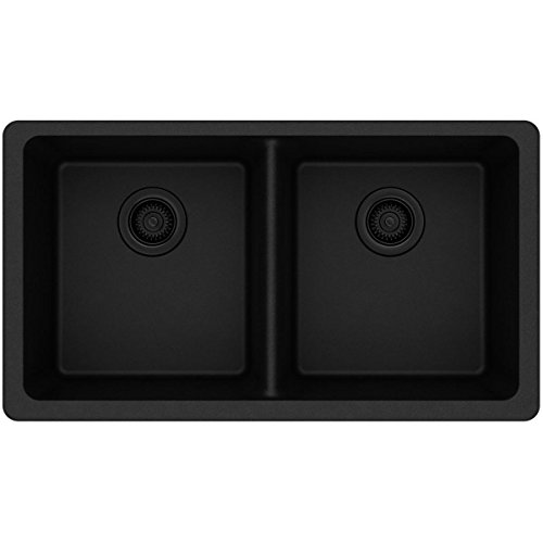 - Elkay Quartz Classic ELGU3322BK0 Black Equal Double Bowl Undermount Sink
