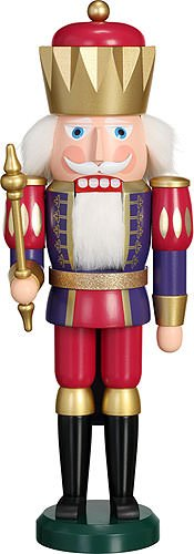 - Seiffener Volkskunst German nutcracker King indigo-rapberry, height 40 cm / 16 inch, original Erzgebirge by