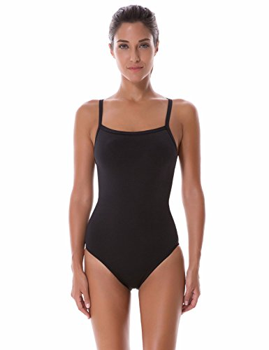SYROKAN Women's Sleek Solid Elite Training Sport Athletic One Piece Swimsuit Black 36 - One Sport Piece Swimsuits