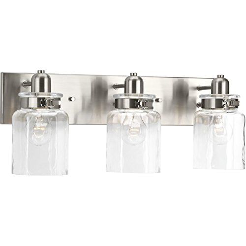 Light Brushed Nickel Bath Fixture (Progress Lighting P300047-009 Calhoun Three-Light Bath and Vanity, Brushed Nickel)