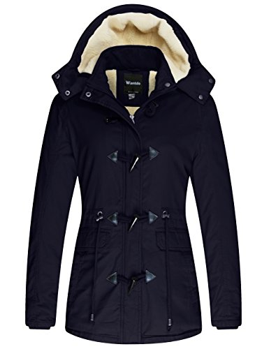 Wantdo Women's Windproof Warm Coat Winter Casual Fleece Coat Classic Cotton Hoodie Jacket Ladies Slim Fit Jacket
