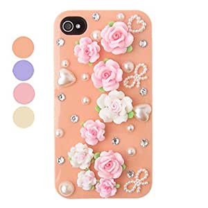 DIY Carpet of Flowers Plastic Back Case for iPhone 4/4S(Assorted Color) --- COLOR:Purple