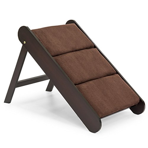 Best Choice Products 19in Portable Folding Wood Pet Ramp Accessory for Small Pets, Cats, Dogs w/Padded Cushion - Brown