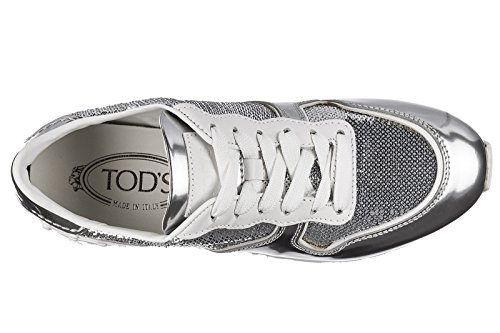 Shoes Sportivo allacciata Tod's Leather Silver Sneakers Trainers Women's wxAaARv