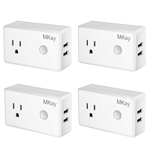 Wifi Smart Plug, Mkay Mini Wireless Outlet Electrical Socket With 2 USB Ports,Compatible with Alexa Echo and Google Home, Remote Control Timer Function On Off Switch, No Hub Required 4 Pack