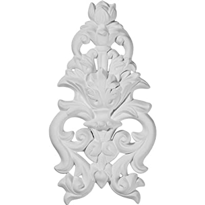 Ekena Millwork ONL04X09X01DA 4 7/8-Inch W by 9 1/2-Inch H by 1-Inch P Dauphine Flower and Leaves Drop Onlay