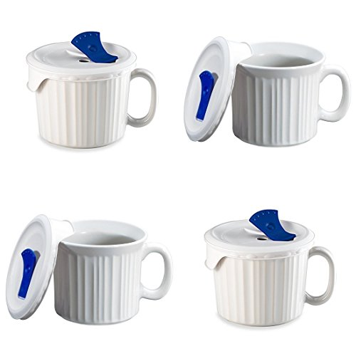 CorningWare Pop-Ins 20-ounce Mug w/ Blue Vented Plastic Cover, White (Pack of 4)