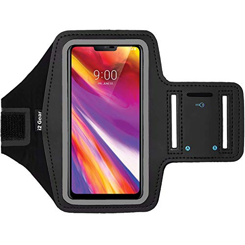 i2 Gear Fitness Cell Phone Armband for Running - Workout Phone Holder with Adjustable Strap, Reflective Edge - Arm Band Case for LG G7 ThinQ (Black)