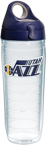 Tervis 1235541 NBA Utah Jazz Primary Logo Tumbler with Emblem and Navy with Gray Lid 24oz Water Bottle, Clear by Tervis