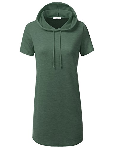 (CLOVERY Women's Pullover V-Neck Short Sleeve Loose Fit Tunic Hoodies Olive M)