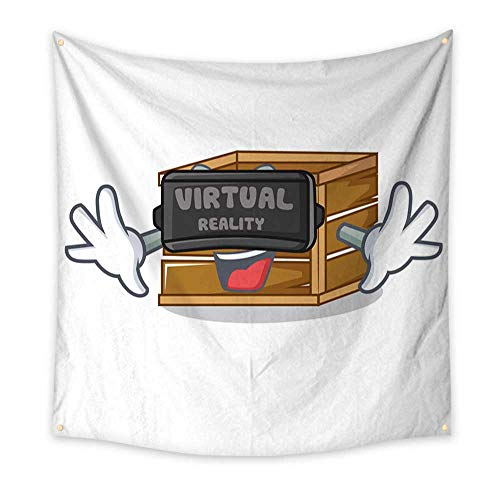 Anyangeight Pattern Tapestry with Virtual Reality Crate Mascot Cartoon Style 63W x 63L Inch