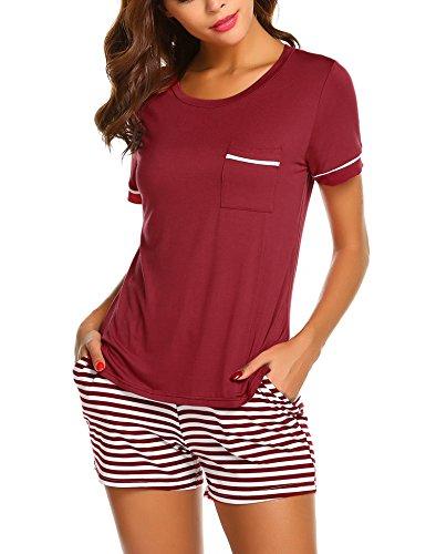 Ekouaer Womens Pajama Set Striped Short Sleeve Sleepwear Pjs Sets(S-XXL) (Striped Short Sleeve Pajamas)