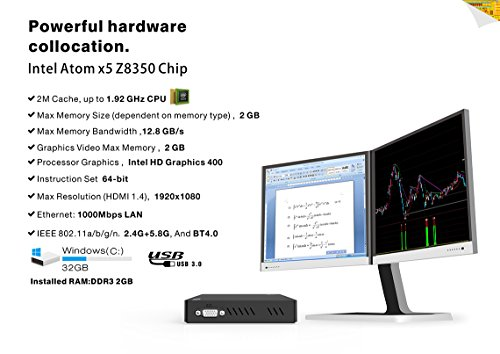 Maxesla Z83V Dual Frequency Display Mini PC Linux System Intel Atom x5-Z8350 Processor 2GB/32GB Storage Dual Band 2.4G/5G WiFi 1000M Ethernet Bluetooth 4.0 Mini Desktop Computer support for windows by Maxesla (Image #3)