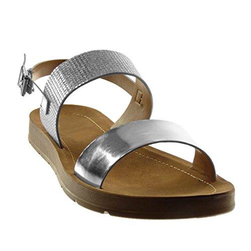 Angkorly Damen Schuhe Sandalen - Knöchelriemen - Glänzende - Patent - String Tanga Keilabsatz 2 cm Silber