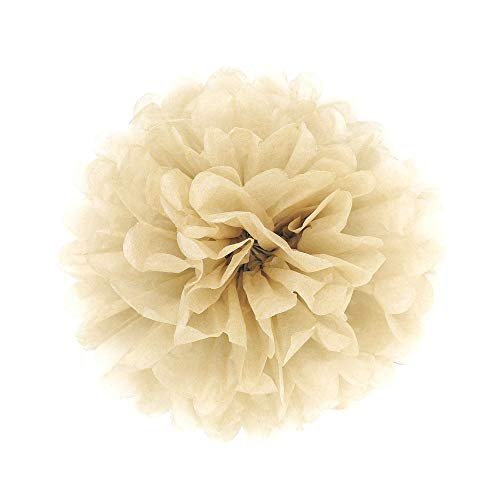 JZK 10x 10inch / 25cm, Khaki/Pale Brown Tissue pom poms Pompoms Decorations Accessories for Wedding Birthday Baby Shower holy Communion Graduation Baptism Party Christmas Paper Flower Balls