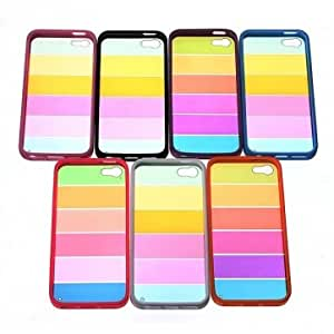 Rainbow Bumper Clear Soft TPU Frame PC Back Case For iPhone 5 5S & Color = Rose Red