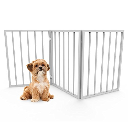 Foldable, Free-Standing Wooden Pet Gate- Light Weight, Indoor Barrier for Small Dogs / Cats by PETMAKER- White, 24 Inch Step Over Doorway Fence (Fence Small)