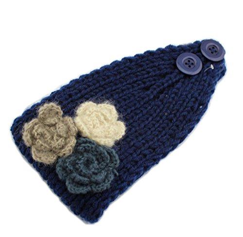 YSJOY Elegant Women Knitted 3 Flowers Headbands Winter Warm Hairband Navy Blue