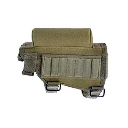 (Baulody Adjustable Nylon Tactical Buttstock Cartridge Ammo Holder for Sniper Shotgun Rifles 12 16 Gauge or .30-30 .308 Winmag Caliber, Hunting Ammo Pouch Bag Stock Shotgun Shell Holder (Green))
