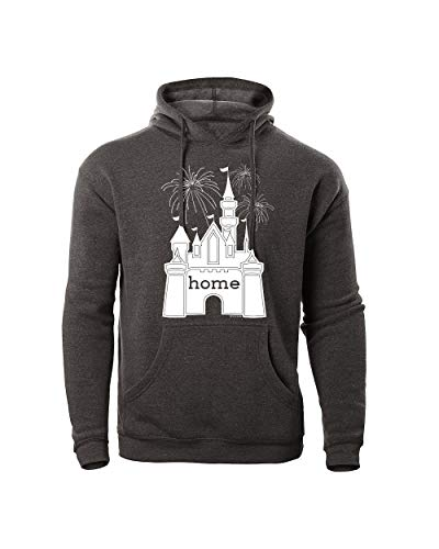 Fleece Tinkerbell Hooded - DisGear Castle is My Home Hoodie Fireworks for Women - Ladies Fleece (Dark Heather Grey, Medium)