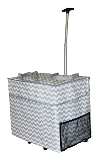 Wide Load Smart Cart, Grey Chevron Rolling Multipurpose Collapsible Basket Cart Scrapbooking Laundry