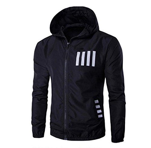 Price comparison product image Anglin Men's Autumn Winter Hooded Printing Casual Jacket Top (M, Black)
