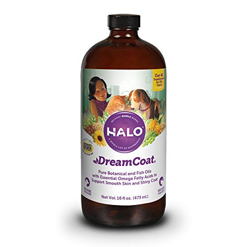 Halo Vita Glo Dream Coat Natural Meal Enhancement for Dogs & Cats, 16-Ounce Bottle (Best Dog Coat Supplement)