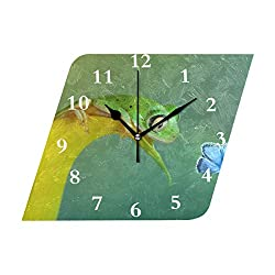 HangWang Wall Clock Wow Beautiful Butterfly Wings Blue Frog Funny Eyes Silent Non Ticking Decorative Diamond Digital Clocks Indoor Outdoor Kitchen Bedroom Living Room