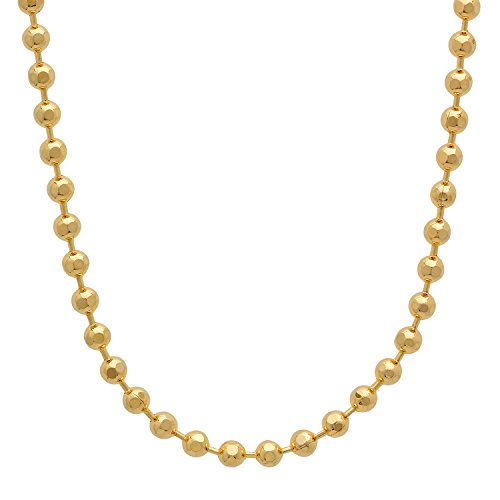 3mm 14k Yellow Gold Plated Diamond-Cut Ball Link Chain Necklace, 20