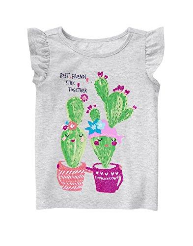 Gymboree Baby Toddler Girls' Cactus Friends Graphic, Light Heather Grey, 18-24 Months