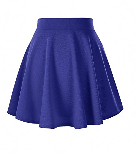 Afibi Womens Basic Versatile Stretchy Flared Pleated Skater Skirt