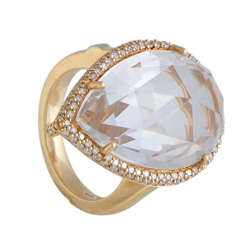 (Luxury Bazaar Italian Collection 18K Rose Gold Diamond and Pear Shaped White Topaz Cocktail Ring)
