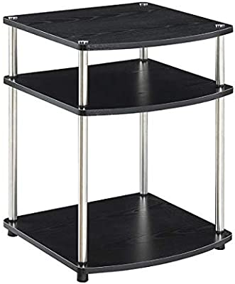 3 Wood Tier End Table - Steel Base End Table - Black