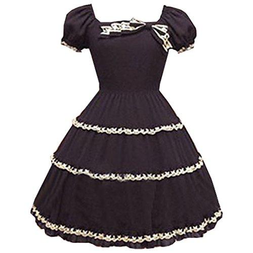 Partiss Women Cap Sleeves Classic Black Lolita Dress With Cross Straps, L, (Sleeves Lolita Dress)