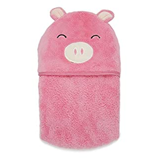 PEKITAS Thick Baby Hooded Towel 39 X 39 in Soft Absorbent Washcloth,Pink Pig