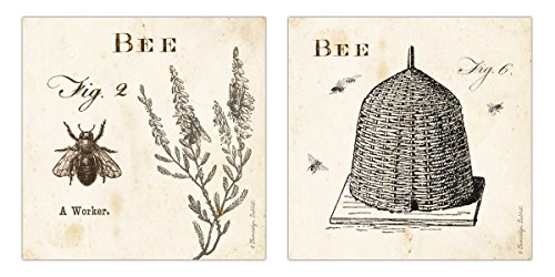 Classic Vintage Ephemera Bee and Bee Hive Print Set; Two 12x12in Paper Poster Prints