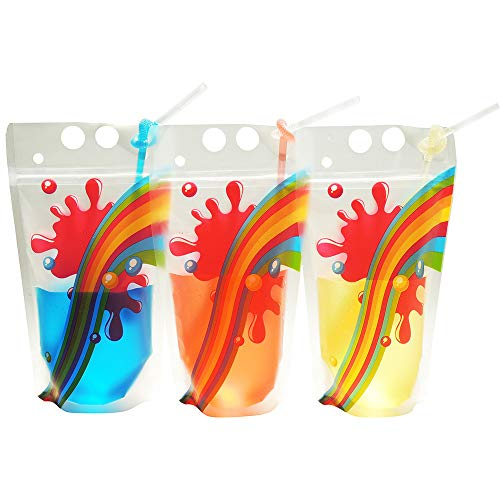 Rainbow Disposable Drink Pouches - Heavy Duty Pouches Bags with Straw -Tested by FDA Approved Lab BPA & Phthalate Free - 50pcs Pouches and Straws By du-bi-ngo