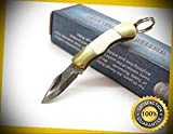 White Bone Miniature Straight Folder Keyring Pocket Sharp Knife 164 perfect for outdoor camping hunting
