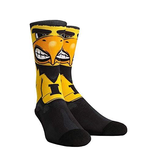NCAA Super Premium College Fan Socks (L/XL, Iowa Hawkeyes - Mascot Herky)