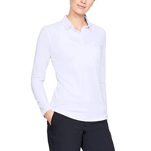 Under Armour Zinger Long Sleeve Golf Polo, Mujer, Blanco (100 ...