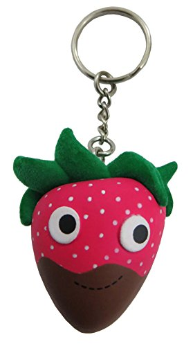 Kidrobot Yummy World 3D Vinyl Keychain (Chocolate dipped Strawberry) Dipped Ring