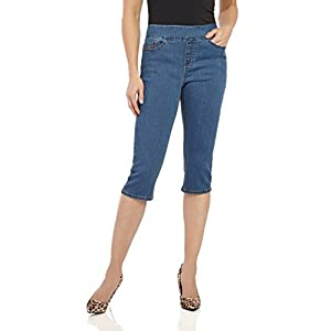 """Rekucci Womens """"Ease In To Comfort Fit"""" Stretch Jean Capri (10,Md. Stone Wash)"""