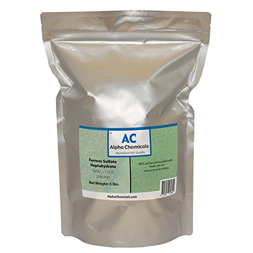 Ferrous Sulfate Heptahydrate - FeSO47H2O - 20% Iron - Very Soluble - 5 Pounds