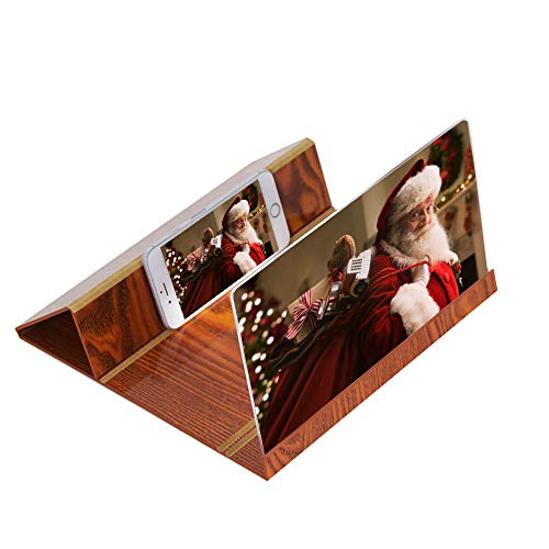 - 3D Phone 12 Inch Screen Magnifier Stereoscopic Amplifying Desktop Wood Bracket for All Kinds of Phone (Brown)