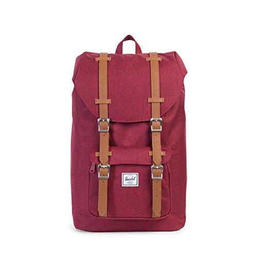 Herschel Little America Mid-Volume Backpack, Winetasting Crosshatch/Tan Synthetic Leather