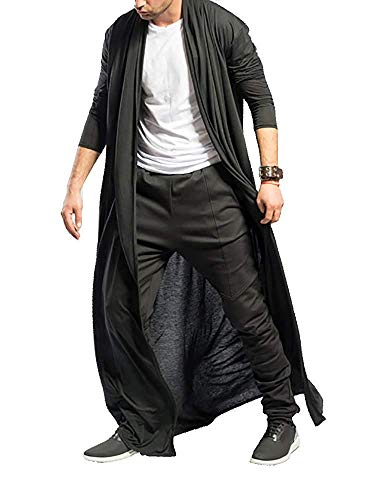 LY-VV Mens Ruffle Shawl Collar Long Cardigan Open Front Drape Cape Overcoat Black